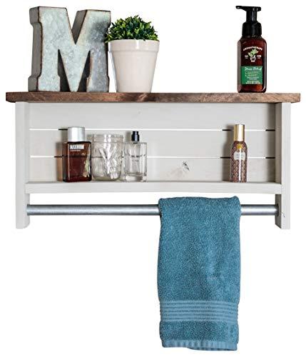 Drakestone Designs Bathroom Shelf with Towel Bar | Solid Wood | Wall Mount | Modern Farmhouse Decor | 12 x 24 Inch (Whitewash)