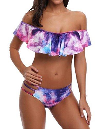 Women Two Pieces 3D Digital Print Crop Ruffle Sexy Off-Shoulder Bikini Swimsuits Size (US 10-12) XL (Purple Floral Bikini)
