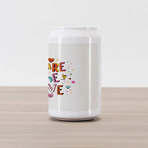 Ambesonne Love Cola Can Shape Piggy Bank, Share The Love Cheerful Childish Quote Smiling Hearts Singing Bird Notebook Page Style, Ceramic Cola Shaped Coin Box Money Bank for Cash Saving, Multicolor