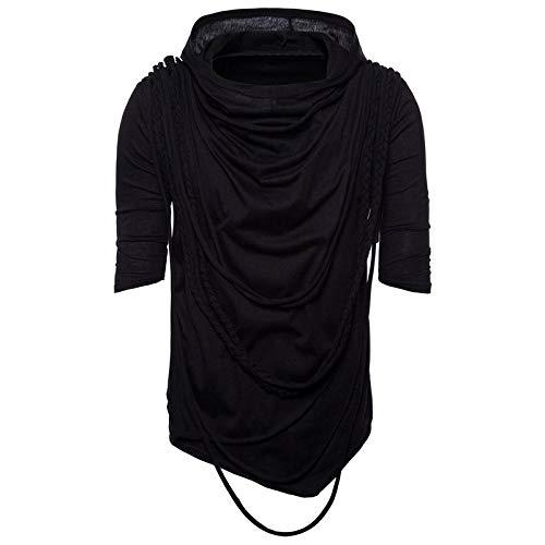 Men Tassel Irregular Design Shirt Punk Rock Hip Hop T Shirt Nightclub Dj Streetwear Men Gothic Hooded Tee Shirts Tops…