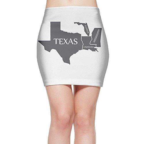 Texas Louisiana Mississippi Florida Map Women's Sexy High Waist Bodycon Mini Skirt Pencil Skirt