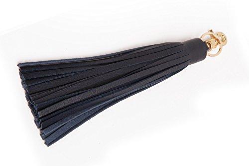 J&S Leather Tassel Charm for Women's Handbag Accessories 16 Colors Navy Blue