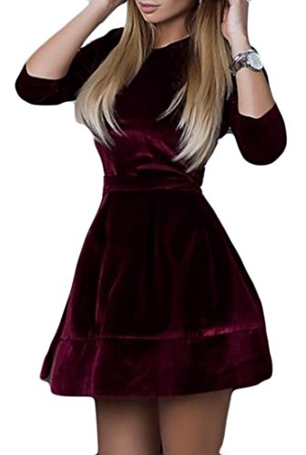 Line Belted Velvet A Wine Midi Dress Sleeve Women's 4 3 Cromoncent Red Swing 0wpTqFq