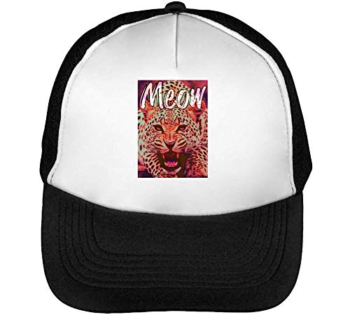 Meow Prowling Tiger Fashioned Gorras Hombre Snapback Beisbol Negro Blanco