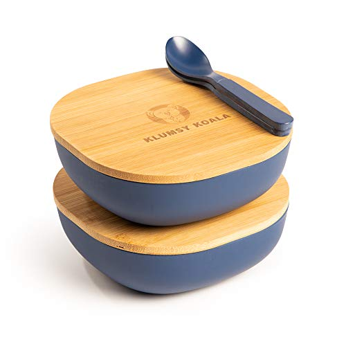 Klumsy Koala 2 Stück Premium Bambusschale (Blau) abgerundet 550 ml I Bambus Servierschüssel Suppenschale Schüssel…