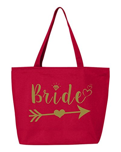 Shop4Ever Bride Heart Arrow Gold Heavy Canvas Tote with Zipper Wedding Reusable Shopping Bag 12 oz Red 1 Pack Zip