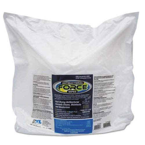 2XL L4014 Antibacterial Force Wipes Refill, 8 X 6, White, 900/pack, 4/Carton
