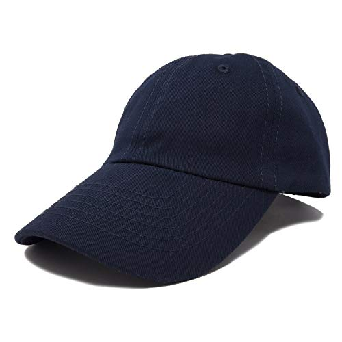 DALIX Unisex Youth Childrens Cotton Cap Adjustable Plain Hat - Unstructured (Navy Blue)