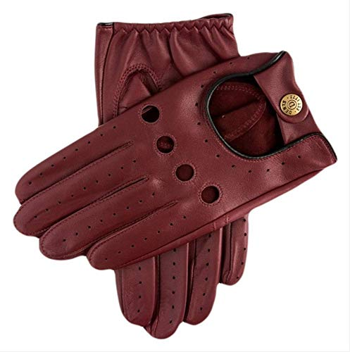 Dents Mens Delta Classic Leather Driving Gloves - Wine/Black - Small