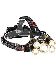 مصباح امامي LED قابل لاعادة الشحن، 5 مصابيح LED امامة ساطعة مضادة للماء للتكبير، مصابيح امامية للدراجات والجري وتمشية الكلاب والتخييم والتنزه في الطبيعة والصيد