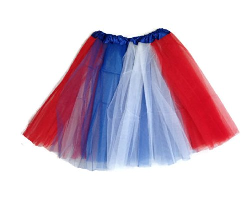 Rush Dance Multi Color Women's Costume Ballet Warrior Dash Run Tutu (Adult, Red/Blue/White (Patriotic))]()