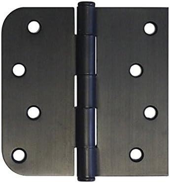 """15 4/"""" Oil Rubbed Bronze Door Hinge Straight Square x 5//8/"""" Radius Round Exterior"""