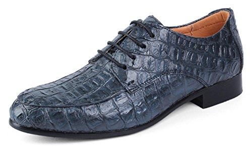 XWZG Scarpe Stringate Derby da Uomo Scarpe da Lavoro Classiche in Pelle di Grandi Dimensioni Modello di Coccodrillo di Grandi Dimensioni blue