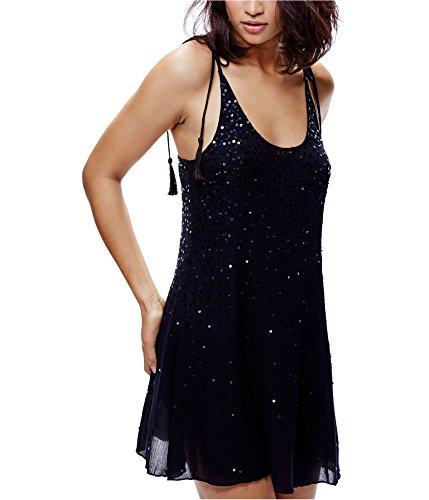 Free People Women's Sequin Embellished Slip Mini Dress, Black (Small)
