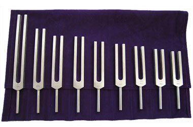 Solfeggio Tuning Forks Set of 9 Forks with Activator and Pouch
