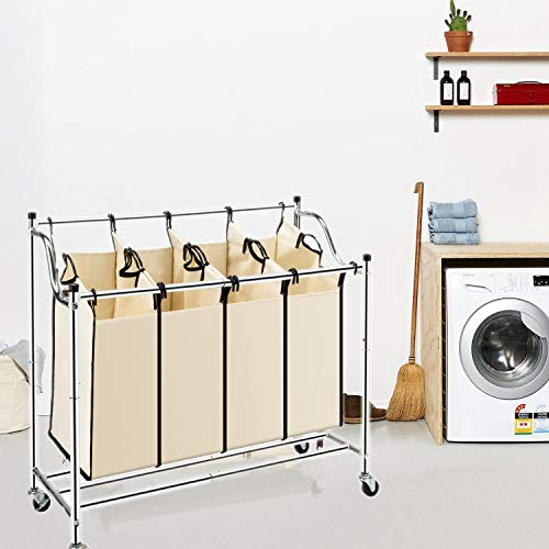 Goujxcy Laundry Hamper,4-Bag Heavy-Duty Laundry Sorter Cart Rolling Divided Laundry Sorting Cart with Removable Bags and Brake Casters (Beige)