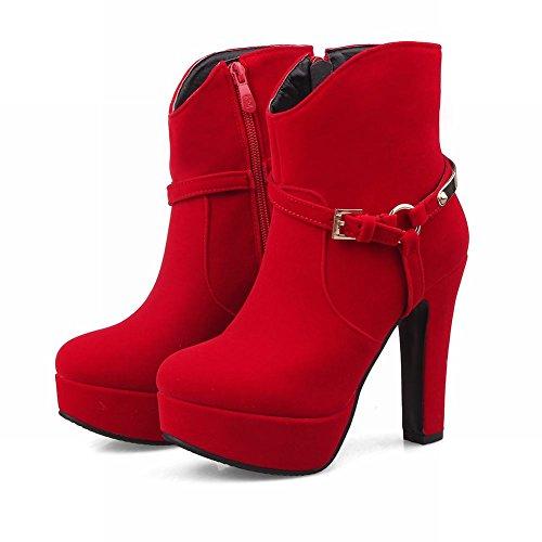 Latasa Kvinna Faux Mocka Plattform Hög Klackar Fotled Klänning Boots Röd