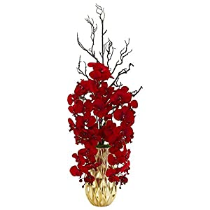 Nearly Natural 1658 Red Phalaenopsis Orchid Artificial Gold Vase Silk Arrangements 82