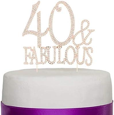 Ella Celebration Adorno para Tartas DE 40. Fiesta de cumpleaños, con Texto en inglés 40 y Fabulous, decoración de Accesorios