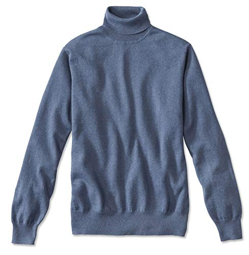 Orvis Men's Cotton/Silk/Cashmere Turtleneck, Blue, X Large