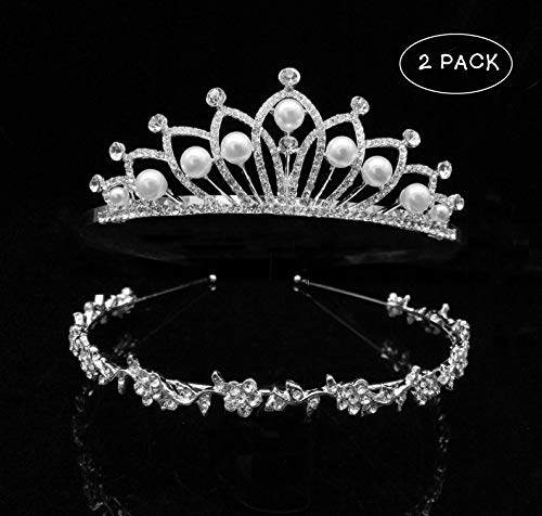 2 Pack Faux Pearl Wedding Bridal Tiara Crown Little Girls Princess Crystal Rhinestones Exquisite Headband Birthday Tiaras, Silver