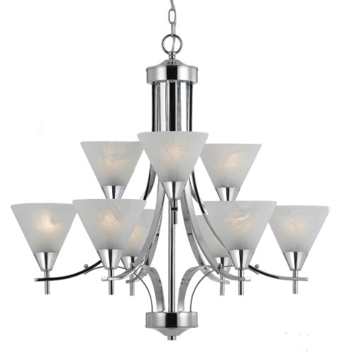 (Triarch International 33324 Value Series 310 9-Light 2-Tier Chandelier with White Swirl Glass Shades, Chrome Finish, 29