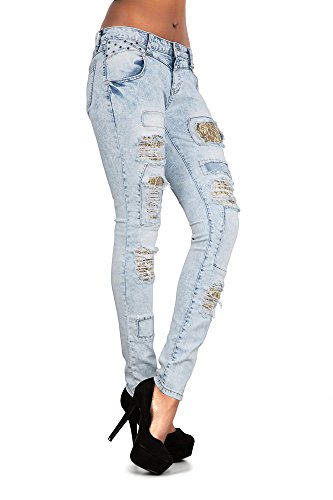 Lace Insert Donna Jeans Gold With Blue Lustychic X4q6w