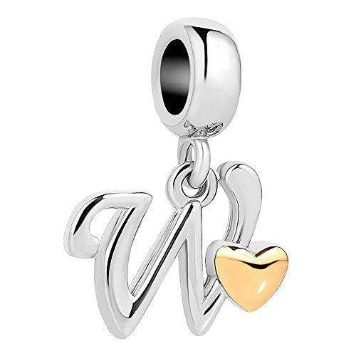 QueenCharms Initial A-Z Letter Charm Golden Heart Alphabet Dangle Beads For Bracelets & Necklaces (W) (Letter Charm Initial Heart)