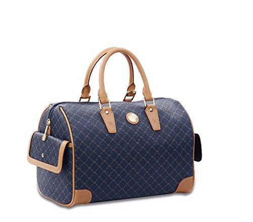 Signature Leather Boston Bag - NEW Rioni Navy Signature Boston Bag STA20015