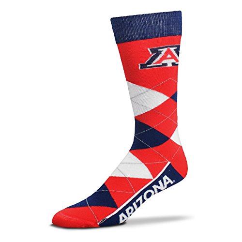 Fabric Wildcats Arizona - For Bare Feet NCAA Argyle Lineup Crew Socks (Arizona Wildcats, One Size Fits Most)