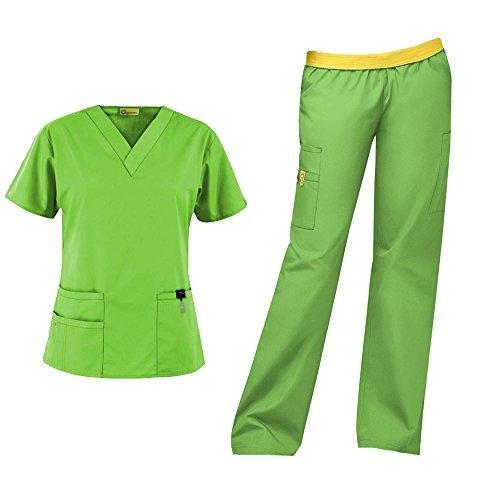 WonderWink Origins Women's Medical Uniforms Scrubs Set Bundle- 6016 Bravo V-Neck Scrub Top & 5016 Quebec Elastic Cargo Scrub Pants & MS Badge Reel (Green Apple - X-Large/XL Tall)