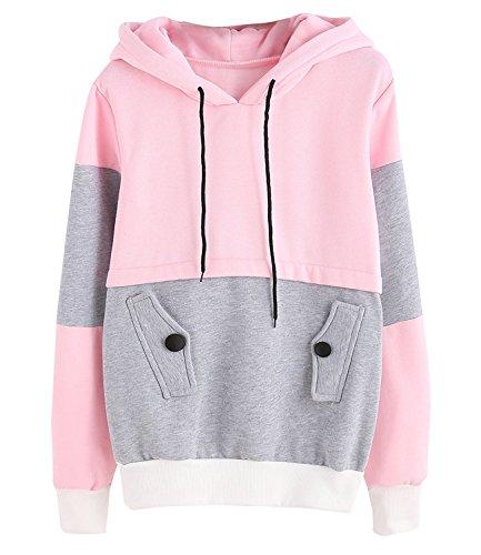 JJyee Women\u0027s Hoodie Pullover Fashion Sweater Color Block Hoodies for Teen  Girl