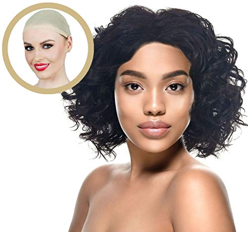 ALLAURA Wigs for Black Women: Natural Black Curly Hair Wigs + Wig Cap + Heat Resistant]()