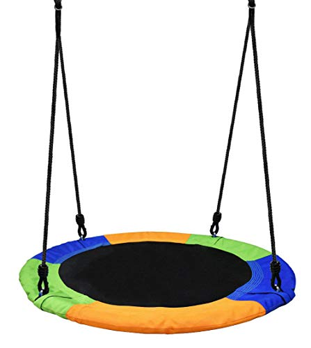 MAILE Saucer Tree Swing, 40 Inch Swing Seat Waterproof Safe and Durable for Children Adults with Adjustable Multi-Strand Ropes