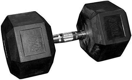 Mancuernas hexagonales (par) de goma - 70 kg: Amazon.es: Deportes ...