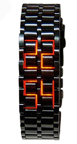 Mastop Men's Lava Black Stainless Steel Lava RED LED Digital Bracelet Watch