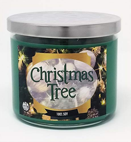 S&M Candle Factory Christmas Tree Scented Candle ~14.5oz Glass 3 Wick Xmas Candle ~ 80 Hour Burn Time ~ Aromatherapy Soy Candles ~ Non-Toxic ~ Made in USA (14.5 oz, Green)