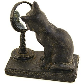 "Resin Cat with Mirror Figurine,Bronze/Black,3.5"" x 3.5"""