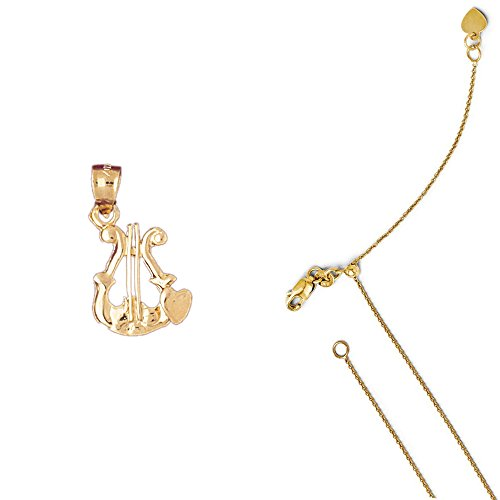 14K Yellow Gold Harp Pendant on an Adjustable 14K Yellow Gold Round Cable Chain Necklace, 22
