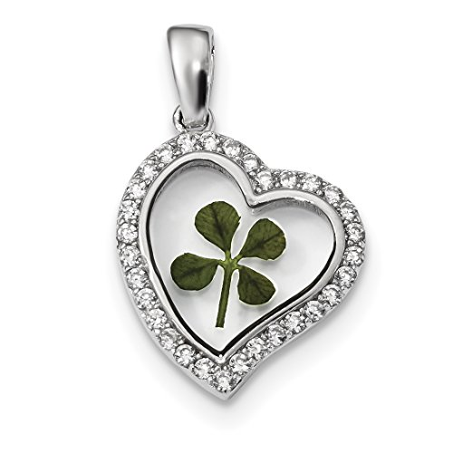 ICE CARATS 925 Sterling Silver Platinum Plated Leaf Clover Epoxy Cubic Zirconia Cz Heart Pendant Charm Necklace Love Good Luck Italian Horn Fine Jewelry Gift Valentine Day Set For Women Heart
