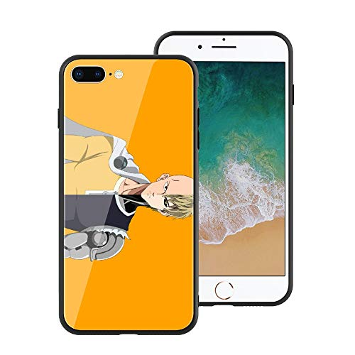 for iPhone7 Plus & iPhone8 Plus, One-Punch Man 129 Design Tempered Glass Phone Case, Anti-Scratch Soft Silicone Bumper Ultra-Thin iPhone7 Plus & iPhone8 Plus Cover for Teens and Adults