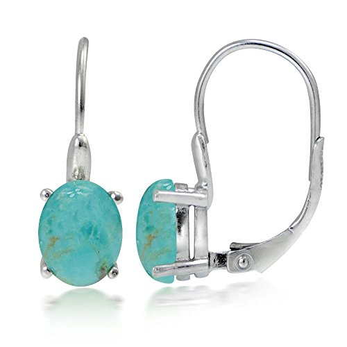 Sterling Silver Simulated Turquoise Oval Shaped Leverback Earrings