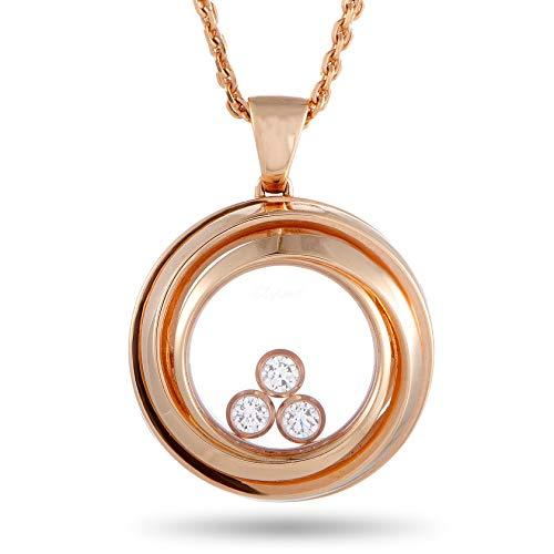 Chopard Happy Diamonds 18K Rose Gold Diamond Circle Pendant Necklace
