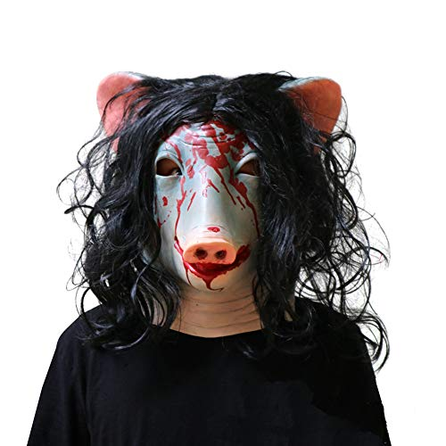 Mokna Halloween Masquerade Mask Chainsaw Crying 3 Pig Mask Costumes Props (Style_Pig) -