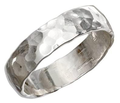 sterling silver 5mm flat hammered wedding band ring size 07