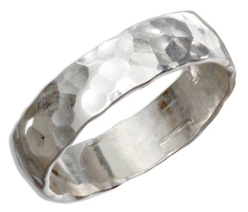 Sterling Silver Flat Hammered Wedding