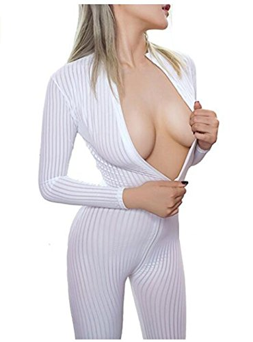 Happyjiu New Open Crotch Striped Sheer Body Stocking Bodysuit Sexy Lingerie for Women Smooth Fiber Double Zipper Long Sleeves ()