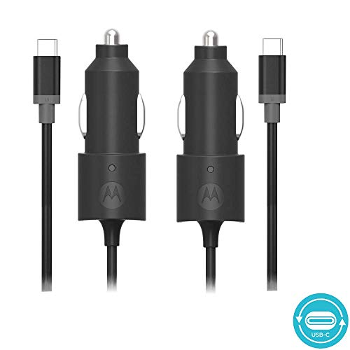 Motorola [2 Pack] TurboPower 15 USB-C (Type C) Car Chargers - Moto Z Play/Droid/Force, Z2 Play/Force, X4 - Black