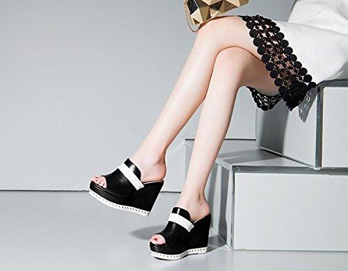 High Black Eté Printemps Haute Sandales de Chaussures Lounger Respirant Talon DANDANJIE Pantoufles Super Slip Femmes Pantoufles Qualité wqaF6nYTB