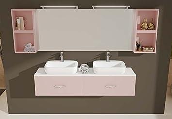 Mobile arredo bagno ice cm 160x40 sospeso con doppio lavabo con 2
